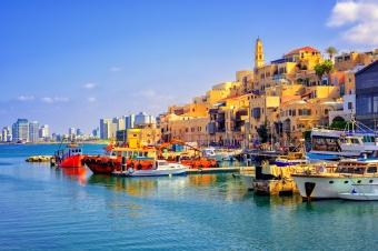 Old town and port of Jaffa and modern skyline of Tel Aviv city, Israel; Shutterstock ID 510846877; Your name (First / Last): Lauren Keith; GL account no.: 65050; Netsuite department name: Online Editorial; Full Product or Project name including edition: Israel Update 2017